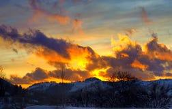 Dramatische zonsondergangwolken royalty-vrije stock foto's
