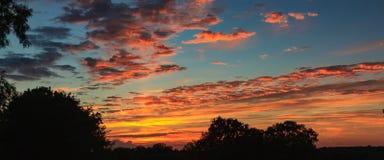 Dramatisk himmel över parkerar i Charlotte NC Arkivbilder