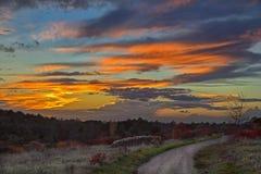 dramatisk röd sky Royaltyfri Fotografi