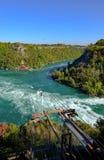 Dramatisk sikt av det berömda Niagara Falls uttaget som visar en kabelbil royaltyfri bild