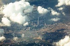 Dramatisk sikt av det Songpa området, Seoul från himlen Arkivfoto