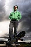 Dramatisk skateboarder royaltyfri foto