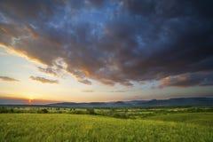 Dramatisk solnedgång över grönt fält Royaltyfria Foton