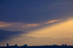 Dramatisk solnedgång på Colorado Front Range Royaltyfri Bild