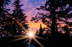 Dramatisk soluppgång Arkivfoton