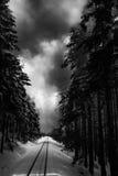 Dramatisk winterlandscapemit-rök Arkivfoto
