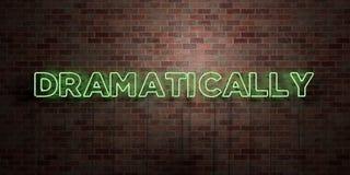 DRAMATISKT - fluorescerande tecken för neonrör på murverk - främre sikt - 3D framförde den fria materielbilden för royalty stock illustrationer