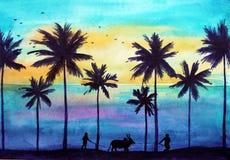 Dramatiskt tropiskt solnedgånglandskap i Indien, Arambol stock illustrationer