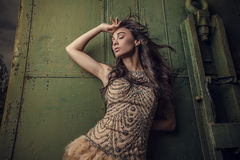 Dramatized image of sensual & attractive young woman in luxury dress posing outdoors. Stock Photography