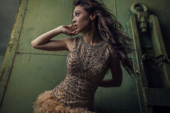 Dramatized image of sensual & attractive young woman in luxury dress posing outdoors. Stock Images