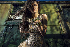 Dramatized image of sensual & attractive young woman in luxury dress posing outdoors. Royalty Free Stock Photos