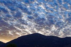 Dramatyczna cumulus chmury formacja, wschód słońca Fotografia Royalty Free