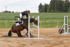Dramatyczna sytuacja przy equestrian rywalizacją Zdjęcia Royalty Free