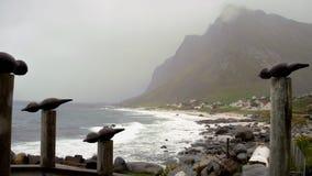 Dramatyczna sztuka Lofoten wyspy w Wrześniu Obraz Stock
