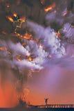Dramatyczne chmury i błyskawicowa burza z mężczyzna dźwigania rękami ilustracji