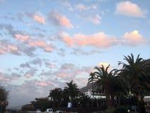 Dramatyczne chmury nad banan Finca na Tenerife Obraz Royalty Free