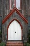 Dramatyczni dębowi drewniani kościelni drzwi Fotografia Royalty Free