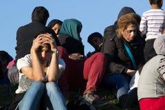 Dramatyczni obrazki od Słoweńskiego uchodźcy kryzysu Zdjęcie Royalty Free