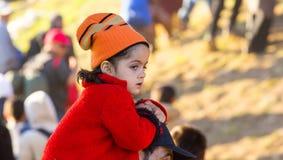 Dramatyczni obrazki od Słoweńskiego uchodźcy kryzysu Zdjęcia Royalty Free