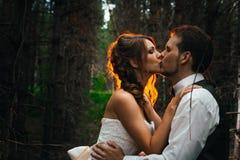 Dramatyczny obrazka państwo młodzi na tle liścia lasu backlight Zdjęcie Stock