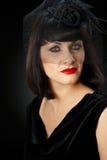 Dramatyczny portret młoda kobieta w przesłonie Zdjęcia Royalty Free
