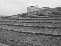 Dramatyczny widok w górę widowiskowych kroków otacza poprzednie Nazistowskiego przyjęcia wiecu ziemie Zdjęcie Stock