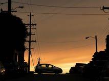 Dramitic solnedgång i San Francisco Arkivbild