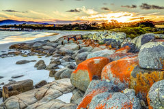 在火海湾的Drammatic风景  库存照片