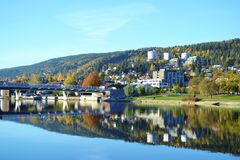 Drammen, Norway. Drammen is a city in Buskerud County, Norway. The port and river city of Drammen is centrally located in the eastern and most populated part of Stock Photo