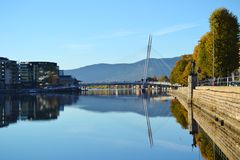 Drammen, Norway. Drammen is a city in Buskerud County, Norway. The port and river city of Drammen is centrally located in the eastern and most populated part of Royalty Free Stock Photo