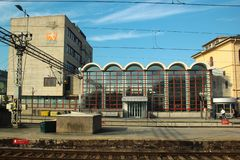 Building of railway station in Drammen, Norway. Drammen, Norway - June 10, 2018: Building of railway station in Drammen, the capital of the county of Buskerud royalty free stock photo