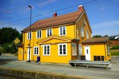 Drangedal railway station in Drangedal, Norway. Drangedal, Norway - June 10, 2018: Drangedal railway station located in Prestestranda in Drangedal, on Sorlandet royalty free stock image