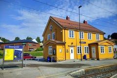 Drangedal railway station in Drangedal, Norway. Drangedal, Norway - June 10, 2018: Drangedal railway station located in Prestestranda in Drangedal, on Sorlandet stock image