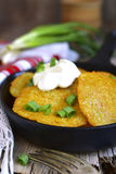 Draniki - potato fritters.Traditional belorussian cuisine. Royalty Free Stock Image