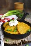 Draniki - potato fritters.Traditional belorussian cuisine. Stock Photography