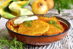 Draniki -potato fritters,traditional dish of Belarusian cuisine. Royalty Free Stock Photos