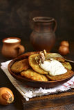 Draniki - potato pancakes stuffed with minced meat,traditional d Royalty Free Stock Photography