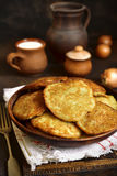 Draniki - potato pancakes stuffed with minced meat,traditional d Stock Photo