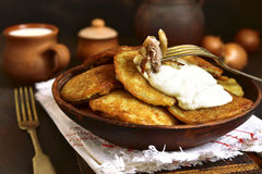 Draniki - potato pancakes stuffed with minced meat,traditional d Stock Image