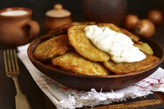 Draniki - potato pancakes stuffed with minced meat,traditional d Royalty Free Stock Photo