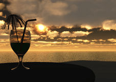 Drank bij zonsondergang Stock Illustratie