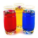 Drank drie kleuren en bloemen, het drietal van rood, geel en blu Royalty-vrije Stock Afbeeldingen