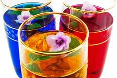 Drank drie kleuren van bloemen, geel close-up, Royalty-vrije Stock Afbeelding