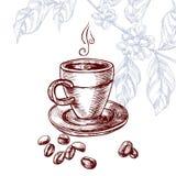 Drank en koffieboon in uitstekende gravurestijl Stock Afbeelding