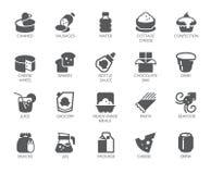 Drank en voedsel glyph pictogrammen 20 vlakke geïsoleerde etiketten Zuivelfabriek, snoepjes en andere maaltijdemblemen Culinair e Stock Fotografie