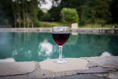 Drank in lang glas in poolside Verfrissing op de zomerdag Purpere sapcocktail of wijnstok Berg bosachtergrond stock foto