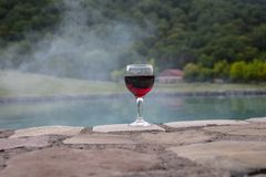 Drank in lang glas in poolside Verfrissing op de zomerdag Purpere sapcocktail of wijnstok Berg bosachtergrond stock afbeeldingen