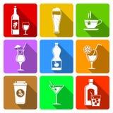Drank vlakke pictogrammen Royalty-vrije Stock Afbeeldingen