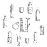 Dranken en geplaatste drankenschetsen Stock Afbeelding