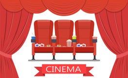 Dranken en popcorn, glazen voor film Stock Foto